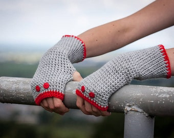 Red Grey Fingerless Gloves / Soft Crochet Arm Warmers / Red Button Half Finger Gloves / Fall Winter Accessories Gift / Christmas Gift Idea