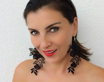 Black Lace Earrings, Dangle Earrings, Statement Earrings, Lace Jewelry, Black Boho