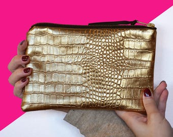 Crocodile clutch gold pink faux leather interior / make-up bag / evening bag