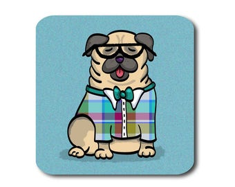 Pug Coasters - Fun Pug Coasters - Set of 4