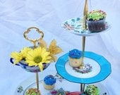 Summer Garden, Vintage China, Pink, Teal & Cobalt, Tiered Tray, 3 tier stand, Victorian Party, Brunch, Cupcake Tower, Rainbow Colors