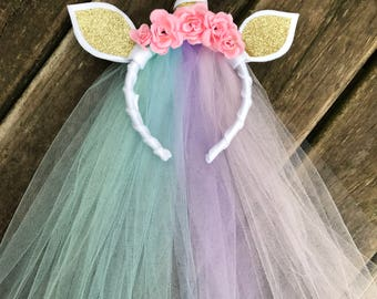 Rainbow tulle unicorn headband - unicorn birthday party- unicorn headband- unicorn dress up- unicorn cosplay- unicorn birthday present