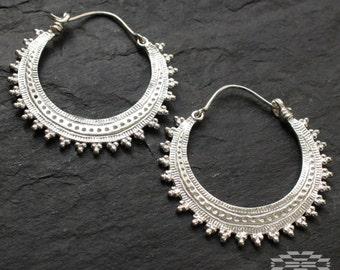 Afghan silver hoops earrings, tribal earrings, ethnic earrings, indian earrings