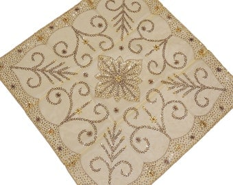 Cream Organza Gold Beadwork Tablecloth - Artisan Made Luxury Square Coffee Table Topper from India ~ 40 Inch x 40 Inch - NH14530
