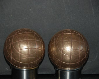 2 vintage French Boules from Marseilles, Petanque set. Boules are in heavy bronze. Playing quality.