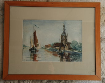 French water colour, framed under glass. Scene on a canal with two boats and church.  North of France or Netherlands. Signed Schmidt unknown