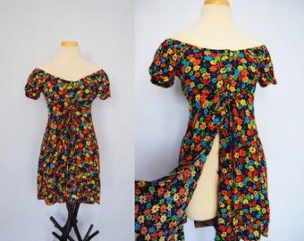 Vintage Off-Shoulder Dress, 90s Bright Floral Peasant Dress - button front, off shoulder top, empire waist, mini dress, hippie, gypsy, boho