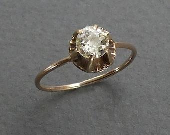 14K mine cut solitaire diamond .40PT size 4.25
