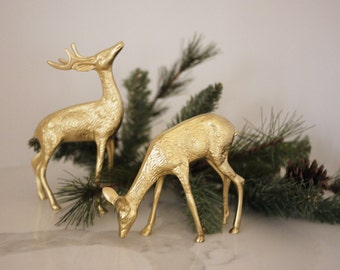 Pair of Vintage Painted Brass Deer