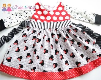 Toddler Girls Dress, Minnie Mouse Dress, Long Sleeve Dress, Knit Dress, Twirl Dress, Toddler Girls Dress, Toddler Gift