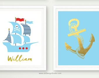 Pirate Ship, Set of 2 Nautical Prints, Nautical Name Print, Anchor Wall Decor, Anchor Print, Custom Name Print, Pirate Boat Print, D83-S2