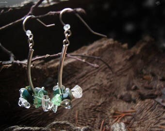 Boho chic earrings, long earrings, amulet, talisman, bohemian earrings, stone earrings, quartz, glass, glass bead, pine, drop - Crystal time