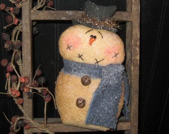 Snowman Decoration - Shelf Sitter - Winter - Seasonal - Prim Snowman