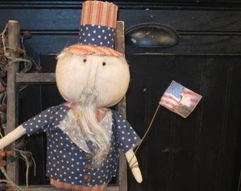Uncle Sam Doll - Patriotic Doll - Uncle Sam Shelf Sitter - Red White & Blue - Americana Decor - FAAP~HAFAIR~TEAMHAHA