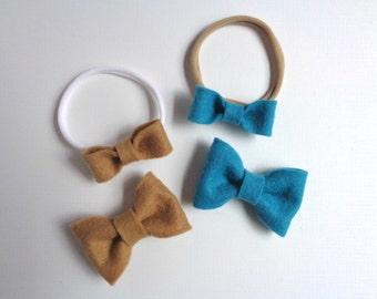 Sister Bows - Felt Bow Headband - nylon headband - choose your colors