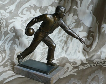 Old, bronze figure bowling players figure sculpture bronze statue sculpture