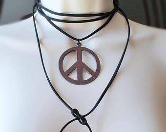 Peace Sign Leather Necklace, Bolo Tie Necklace, Suede Choker, Wrap Necklace, Hippie Necklace, Rustic Metal Necklace, Statement Necklace
