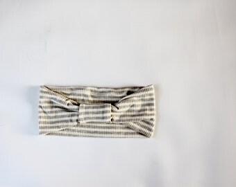 Oatmeal Stripe Boho Band Headwrap, Turban Headband