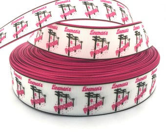 Lineman Ribbon, Lineman Grosgrain, Linemen Ribbon, Linemen Grosgrain, Princess Ribbon, Princess Grosgrain, Tower Climber Ribbon