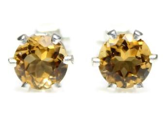 Orange Citrine Earrings November Birthstone Citrine Stud Earrings 6MM Faceted Cut Orange Gemstones 925 Sterling Silver Jewelry Birthday Gift