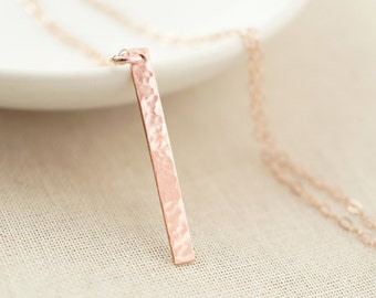 Rose gold bar necklace - layering necklace - dainty jewelry - bridesmaids gift
