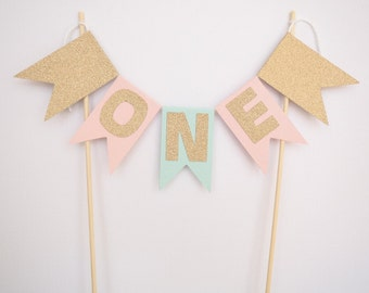 Pastel teal green, pink and rose gold glitter 'ONE' cake bunting || cake topper first birthday birthday decor decorations