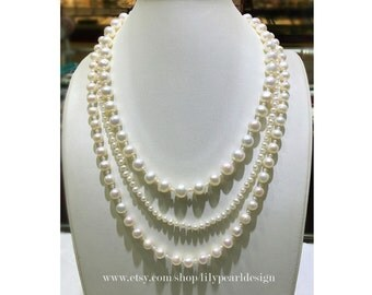 Pearl necklace, wedding necklace, bridal necklace, dainty necklace,multi-strand pearl necklace, daily accessory