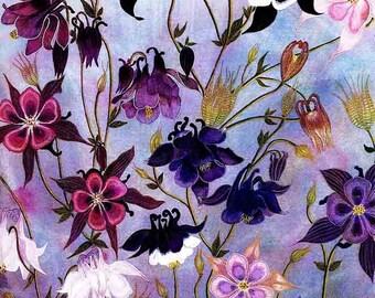 "Art Print: ""Columbine"" - A3 flower print, wall art, columbine painting, acquilegia print, lilac purple art, from a painting by Liz Clarke"