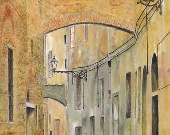 "Art Print: ""Siesta"" -A4 landscape print, wall art, Italian street, Italian painting, old street, earth colours,from a painting by Dave Marsh"