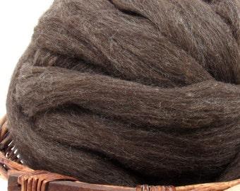 Carded Dark Coopworth Wool Roving - Undyed Spinning & Felting Fiber / 1oz