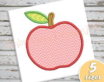 Apple Applique Design - 5 sizes - Machine Embroidery Design File
