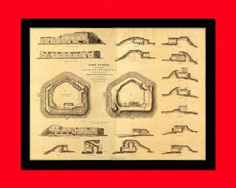 Old Map Of Fort Sumter Old Map Art Reproduction Office Decoration Vintage Retro Map Reproduction Vintage