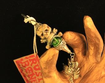 Dread Clip Smoking Clip OOAK Rusty Bones Owl, Skull and Bones, Green Bead Hair Clip