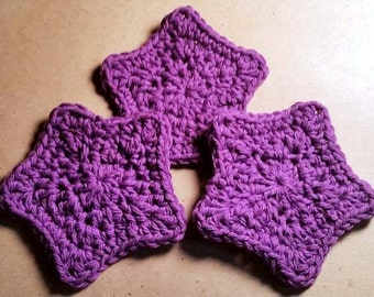 Set of 3 Purple Star Face Scrubs, Cotton Spa Face Scrubbies, Crochet Face Scrub, Knit Face Scrub, Ecofriendly, Face Wash, Spa Gift Set