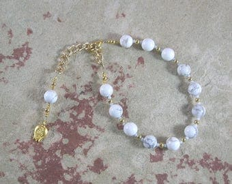 Persephone Prayer Bead Bracelet in White Howlite: Greek Goddess of Spring,  Renewal, Death and the Afterlife, Queen of the Underworld