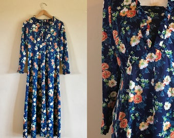 60's Polyester House Dress, Vintage Long Sleeved Floral Polyester Dress
