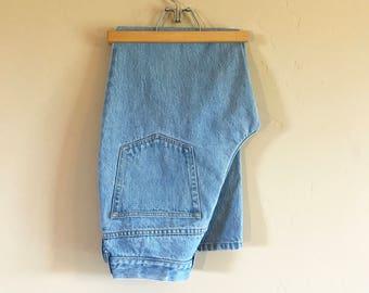90's Vintage Lands End Jeans, Vintage Light Blue Denim Lands End Jeans Size 8P