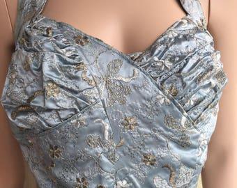 Beautiful Original 1950s Duck Egg Blue Prom Dress. Size 10.