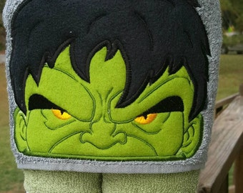 Incredible  Hulk Hooded Towel with FREE Embroidered Name