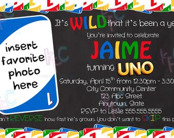 "1st Birthday Uno Card Themed 4""x6"" Printable Chalkboard Invitation {Digital File Only See Listing Details}"