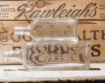 Antique Bottles, Vintage Rawleigh's TradeMark Glass Bottle, 2 Large & Small Glass Bottles, Rustic Home Decor, Farmhouse Antiques Old Bottles