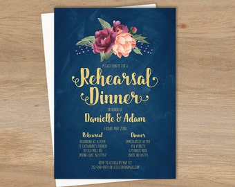 Marsala Rehearsal Dinner Invitation / Peonies, Berries, Navy Chalkboard, Blush, Gold Navy ▷ Printable File {or} Printed & Shipped