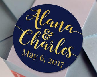 Thank You Custom Labels - Personalized Stickers -  Round Stickers -  Names and Date - Wedding Decor - Bridal Shower - Mint to Be