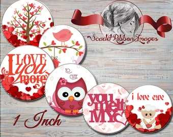 Valentine Owls, Lambs, and Sayings Bottle Cap Images 1 inch round circles