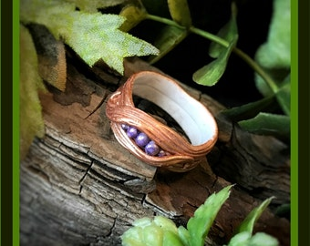 Polymer Clay Gold and Purple Woodland Fantasy Ring