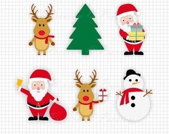 Buy 2 Get 1 Free! Digital Clipart Merry Christmas Characters Monogram, snowman, reindeer, Santa, images png/eps/svg/dxf/studio cut files