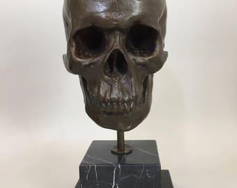 "Miguel ""Milo"" Fernando Lopez, Cast Bronze Human Skull signed 15"" h"