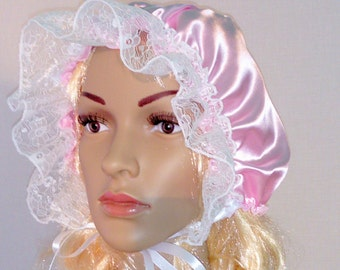 Adult Baby Bonnet only 8 GBP Sissy Boi in pale pink satin with white lace dress up fancy dress