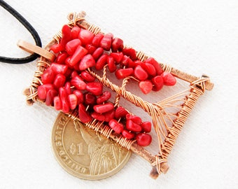 Red Tree Of Life - Red Tree Necklace - Red Tree Pendant - July Birthday Gift  - July Birthstone - Red Coral Natural - Red Coral Necklace