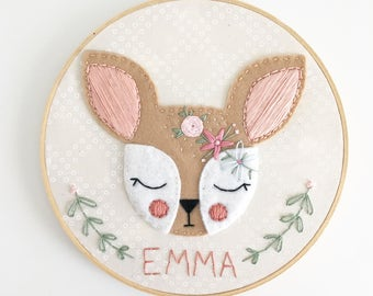 "MADE-TO-ORDER:  7"" or 9"" Flower Fawn name embroidery hoop"
